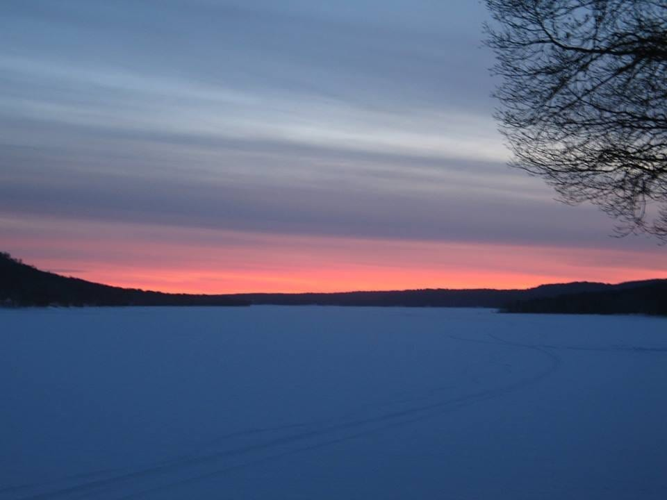 Snowy sunset on the GSL
