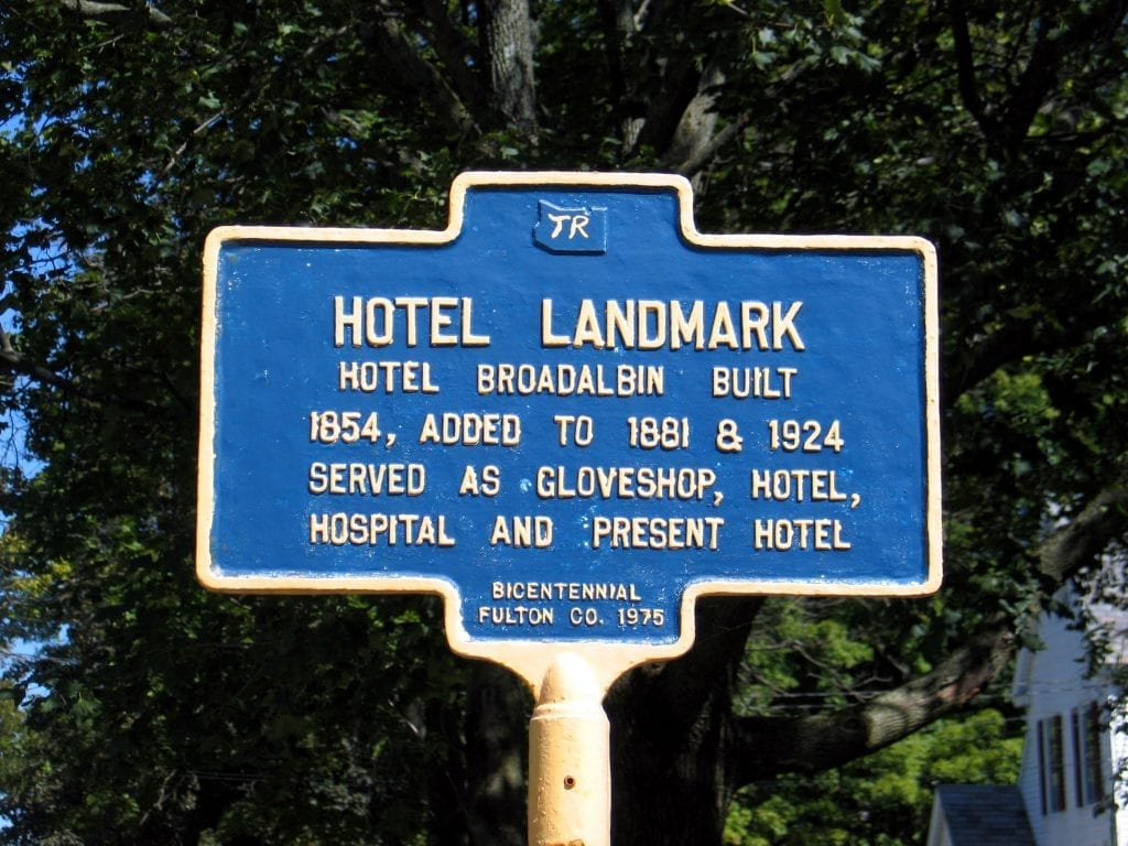 Historical Landmark sign for Broadalbin Hotel