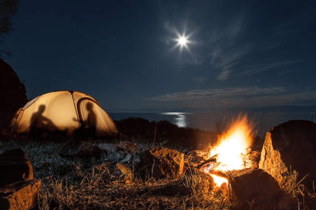 two people in a tent under a starry sky