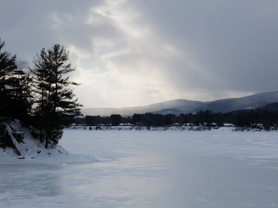A frozen cove on the great Sacandaga at sunrise